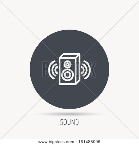 Sound icon. Musical speaker sign. Round web button with flat icon. Vector
