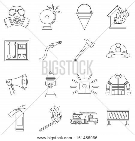 Fireman tools icons set. Outline illustration of 16 fireman tools vector icons for web