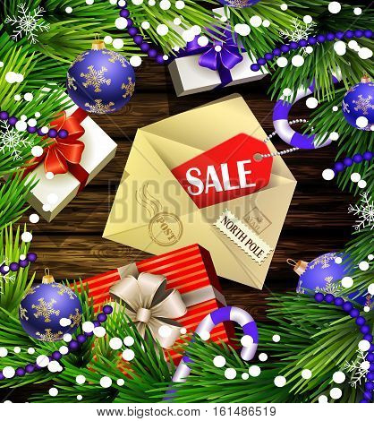 Boxing day background with gift boxes and christmas tree brunches on wooden background with elvelope and sale tag. Vector.
