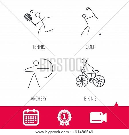 Achievement and video cam signs. Biking, tennis and golf icons. Archery linear sign. Calendar icon. Vector