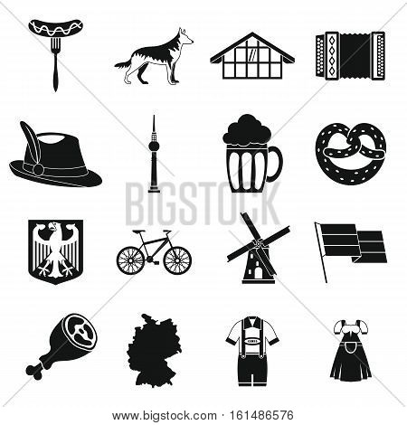 Germany icons set. Simple illustration of 16 Germany travel items vector icons for web