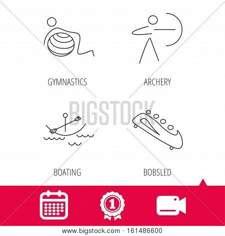 Achievement and video cam signs. Gymnastics, boating and archery icons. Bobsled linear sign. Calendar icon. Vector