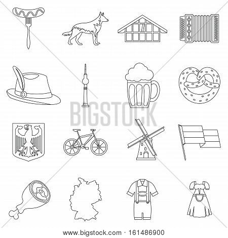 Germany icons set. Outline illustration of 16 Germany travel items vector icons for web