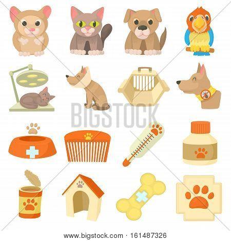 Veterinary clinic items icons set. Cartoon illustration of 16 veterinary clinic items vector icons for web
