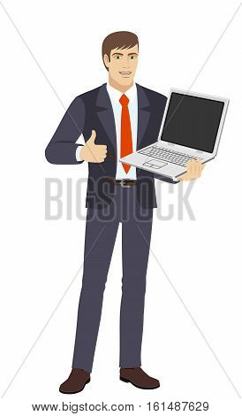 Businessman shows the thumb up. Businessman holding laptop notebook. Full length portrait of businessman in a flat style. Vector illustration.