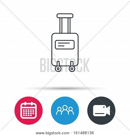 Suitcase with wheels icon. Travel baggage sign. Group of people, video cam and calendar icons. Vector