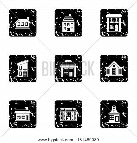 Dwelling icons set. Grunge illustration of 9 dwelling vector icons for web