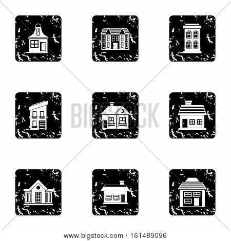 Habitation icons set. Grunge illustration of 9 habitation vector icons for web