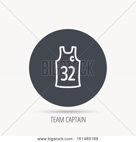 Team captain icon. Basketball shirt sign. Sport clothing symbol. Round web button with flat icon. Vector