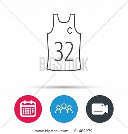 Team captain icon. Basketball shirt sign. Sport clothing symbol. Group of people, video cam and calendar icons. Vector