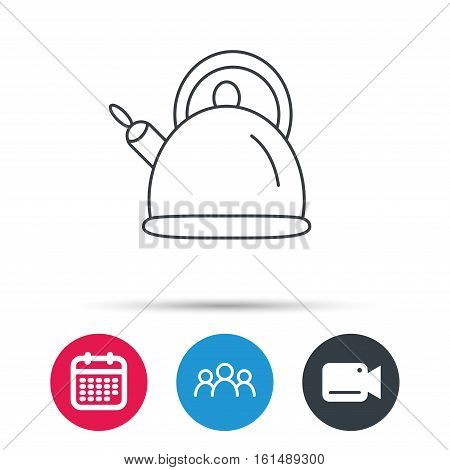 Teapot icon. Kitchen kettle sign. Hot drink appliance tool. Group of people, video cam and calendar icons. Vector