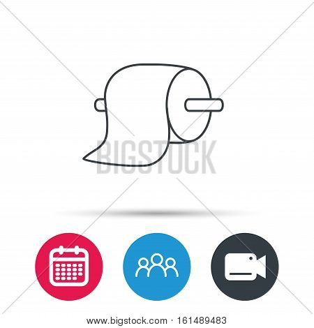 Toilet paper icon. WC hygiene sign. Group of people, video cam and calendar icons. Vector