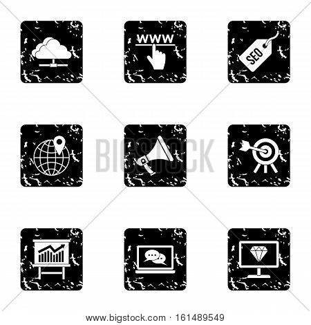 SEO optimization icons set. Grunge illustration of 9 SEO optimization vector icons for web