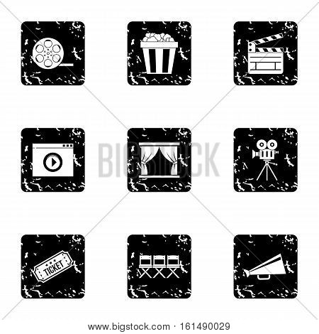 Film icons set. Grunge illustration of 9 film vector icons for web