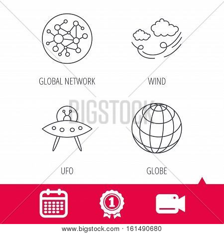 Achievement and video cam signs. Ufo, planet and global network icons. Wind linear sign. Calendar icon. Vector