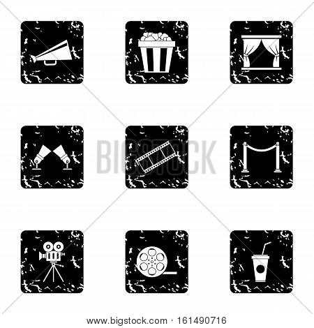 Movie theater icons set. Grunge illustration of 9 movie theater vector icons for web