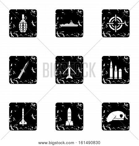 Military weapons icons set. Grunge illustration of 9 military weapons vector icons for web