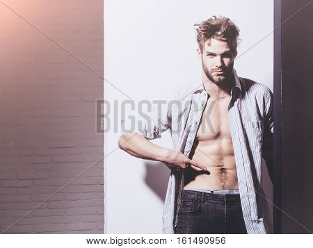 Handsome man with beard or blond muscular macho athlete bodybuilder in unbutton shirt points to six packs and abs on muscle torso on white background