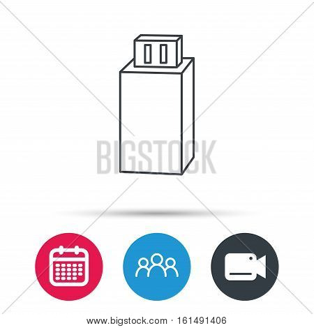 USB drive icon. Flash stick sign. Mobile data storage symbol. Group of people, video cam and calendar icons. Vector