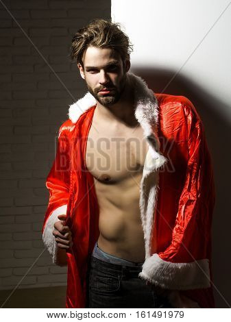 Handsome Man In Santa Suit