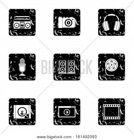 Electronic equipment icons set. Grunge illustration of 9 electronic equipment vector icons for web