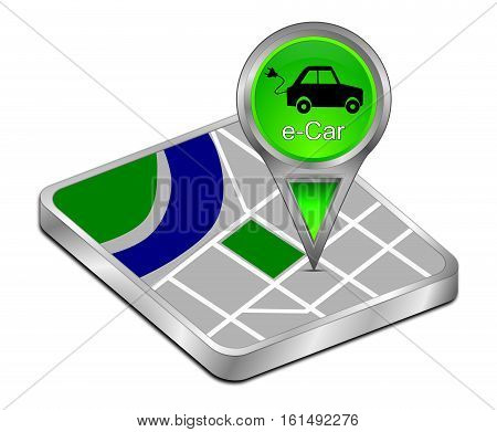 green Map pointer with e-Car - 3d illustration
