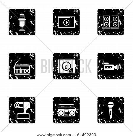 Electronic communication icons set. Grunge illustration of 9 electronic communication vector icons for web