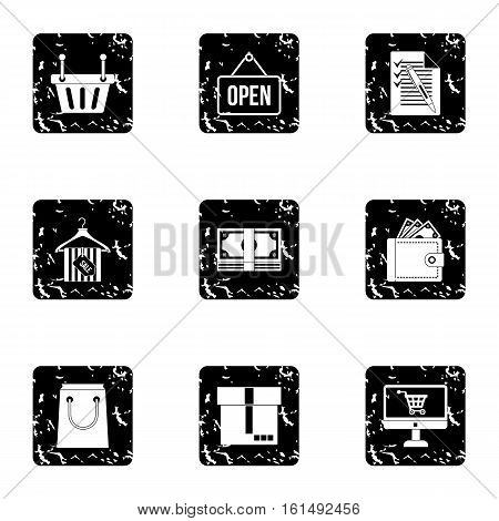 Online purchase icons set. Grunge illustration of 9 online purchase vector icons for web