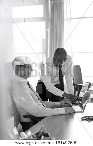 Young businessman showing something to male colleague on laptop at office desk