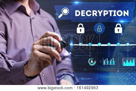 Technology, Internet, Business And Marketing. Young Business Person Sees The Word: Decryption