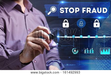 Technology, Internet, Business And Marketing. Young Business Person Sees The Word: Stop Fraud