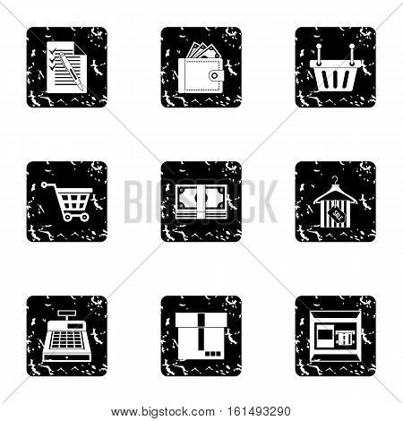 Supermarket buying icons set. Grunge illustration of 9 supermarket buying vector icons for web