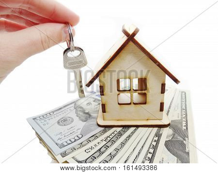 house model dollar cash money key in hand real estate concept