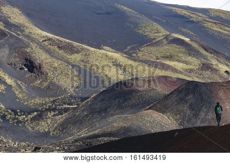 People Hiking, Etna Crater And Volcanic Landscape Around Mount Etna, Sicily, Itlay