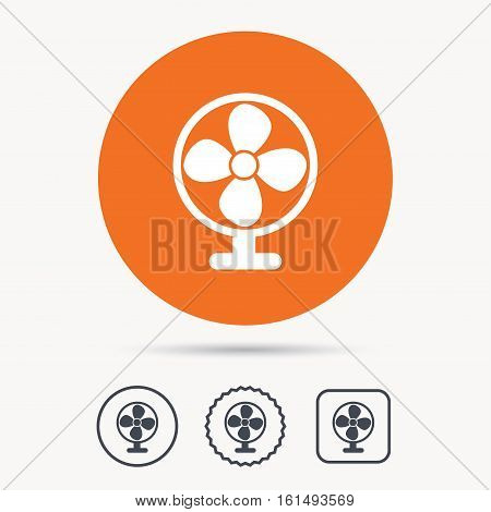 Ventilator icon. Air ventilation or fan symbol. Orange circle button with web icon. Star and square design. Vector