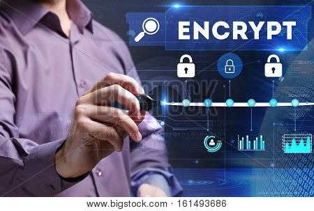 Technology, Internet, Business And Marketing. Young Business Person Sees The Word: Encrypt