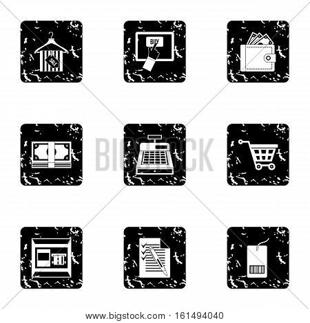 Purchase in shop icons set. Grunge illustration of 9 purchase in shop vector icons for web