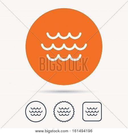 Wave icon. Water stream symbol. Orange circle button with web icon. Star and square design. Vector