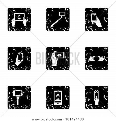 Shooting on cell phone icons set. Grunge illustration of 9 shooting on cell phone vector icons for web