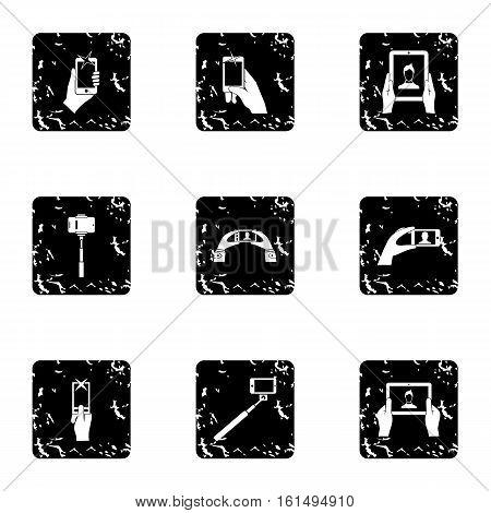 Photo on smartphone icons set. Grunge illustration of 9 photo on smartphone vector icons for web
