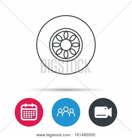Car wheel icon. Automobile service sign. Group of people, video cam and calendar icons. Vector