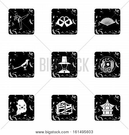 South Korea icons set. Grunge illustration of 9 South Korea vector icons for web