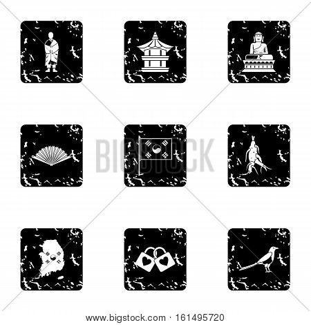 Stay in South Korea icons set. Grunge illustration of 9 stay in South Korea vector icons for web