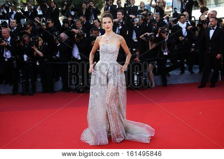 Model Alessandra Ambrosio attends 'The Last Face' Premiere during the 69th annual Cannes Film Festival at the Palais des Festivals on May 20, 2016 in Cannes, France.