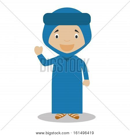 Character from Algeria dressed in the traditional way of the Blue Desert Men. Vector Illustration. Kids of the World Collection.