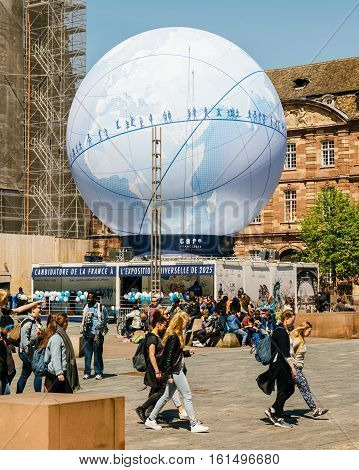 People Admiring Pavillion Of France Candidacy For World Fair 2025