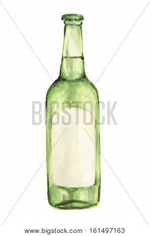 Watercolor alcohol bottle on white background. Alcohol beverage. Drink for restaurant or pub. Absent or rum.