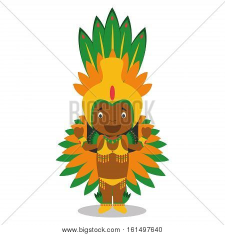 Character from Brazil dressed in the traditional way as a Carnival dancer. Vector Illustration. Kids of the World Collection.