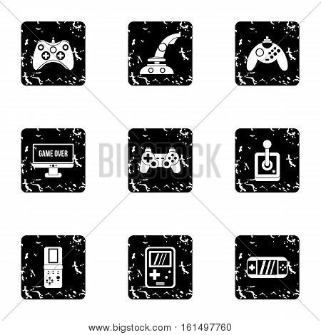 Game icons set. Grunge illustration of 9 game vector icons for web