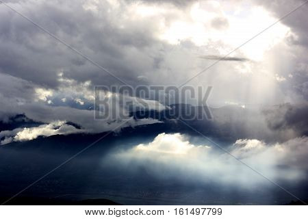 clouds from above karditsa greece with drone